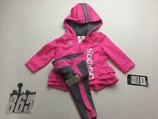 ADIDAS CHILDREN 2-PIECE SET GIRLS JUMPSUIT WITH HOOD SIZE 6 MONTHS PINK/GRAY