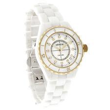 Geneve Sapphire Ladies Diamond White Ceramic Bracelet Quartz Watch 9235M