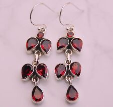 925 Solid Sterling Silver Natural Garnet Earrings Gemstone 7.50 Gm R673