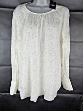 NEXT Cream Top Size 18, Embroidered Gold Spots, Semi Sheer, Plus Size