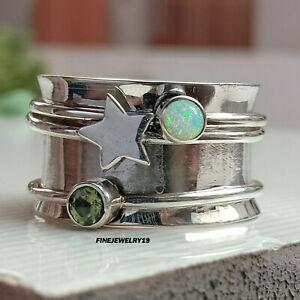 Opal Ring Peridot Ring 925 Sterlingsilber Spange Ring Meditation Schmuck A907