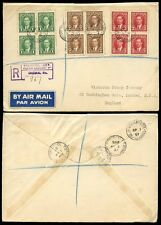 CANADA KG6 1937 BLOCKS of 4 FDC REGISTERED AIRMAIL