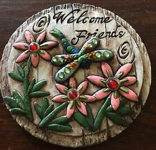 Garden Stone Dragonfly rustic Summer Flowers Pink Outdoor Yard Decor Welcome