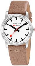 Mondaine Women's A400.30351.16SBG 'Simply Elegant' White Dial Sand Beige Leather