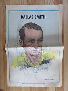 RARE 1971 DALLAS SMITH BOSTON GLOBE Newspaper Pin Up Poster BRUINS
