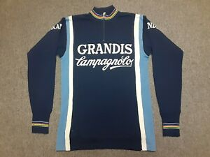VTG 70s 80s GRANDIS Campagnolo Wool Knit Cycling Jersey Shirt Blue size 2 Small