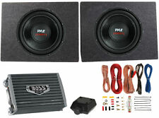 "2) PYLE 12"" 3200W Car Subwoofers PLPW12D +2 Ch Amplifier +Amp Kit + 2) Sub Boxes"