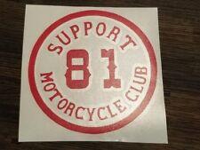 Support 81 Red and White Vinyl decal sticker Biker helmet motorcycle