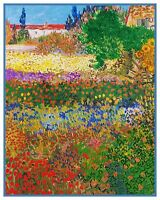 The Flower Garden by Impressionist Van Gogh Counted Cross Stitch Pattern
