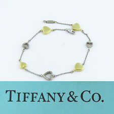 NYJEWEL Tiffany & Co 18K Beautiful Two Tone Gold Heart Link Ladies Bracelet