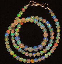 """Natural Ethiopian Opal Ultimate Quality Rainbow Fire Round Beads Necklace 17.5"""""""