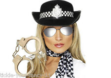 WOMENS POLICE WOMAN FANCY DRESS HANDCUFFS SCARF GLASSES HAT POLICEWOMAN COP LADY