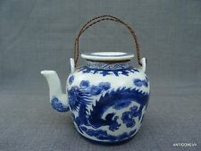 RARE THEIERE PORCELAINE CHING DYNAST.BLANC BLEUE DECOR DRAGONS 5 GRIFFES  SIGNEE