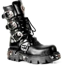 New Rock 391-S1 Unisex Black Metallic Reactor Goth Rock Biker Boots