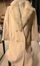 Vintage coat w/ fur lapel Size 14 Ivory