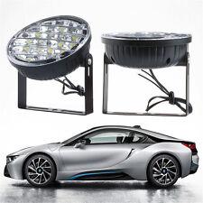 2X 12V White 18 LED Round Car DRL Driving Daytime Running Light Fog Day Lamp
