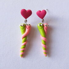 Funny Neon Pink Green Party Caterpillar Hearts Stud Colorful Handmade Earrings