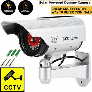 FAKE DUMMY CCTV SECURITY CAMERA SILVER FLASHING LED INDOOR OUTDOOR SURVEILLANCE