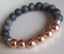 Matte Labradorite, Rose Gold & Links Of London sterling silver Bracelet Handmade