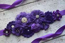 Flower Sash,  purple sash , flower Belt, maternity sash