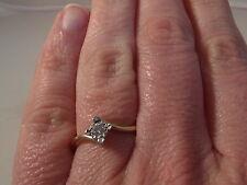 161E LADIES VINTAGE 9CT GOLD 0.10 CARAT DIAMOND SOLITAIRE RING SIZE M