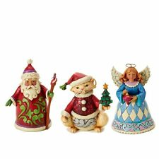 "Jim Shore "" Set of Three Cat/Angel/Santa"" Free Shipping #4026402"