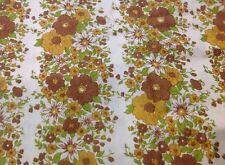 Funky Retro Vintage BROWN FLORAL Fabric (50cm x 50cm)