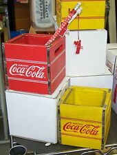 COCA COLA COKE WOOD CRATE CANDLE HOLDER SET W/ GLASS INSERT NEW IN BOX RED & YEL