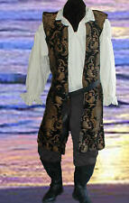 Mens Renaissance Black Pirate Open Tunic Costume Rc
