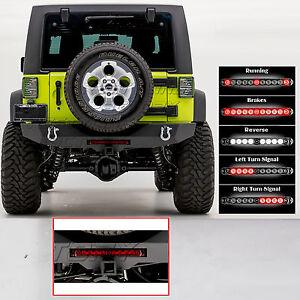Rock Crawler HD Rear Bumper+RED 3rd Brake Taillight fit 07-18 Jeep JK Wrangler
