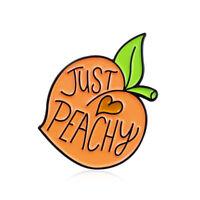 Fruit Peach Enamel Lapel Pin Just Peachy Heart Badge Cute Brooch Christmas Gifts