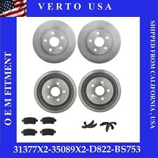Front Brake Rotors+Rear Drums Pad shoe For Toyota Prius 2004-2005-2006-2007-2008