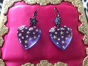 Betsey Johnson Vintage Heavens to Betsey Blue Lucite Puffy Heart Star Earrings