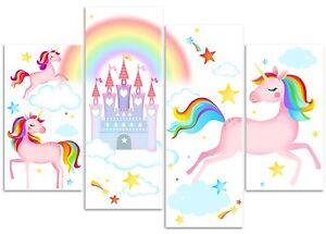 Unicorn Fairy Tale Castle, Rainbow & Stars - 4 Panel Canvas Art Print Picture