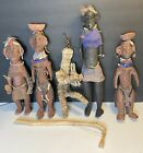 Lot of 5 Vintage African Turkana Doll's 12 Inches To 17 Inches Tall From Kenya