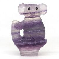 "2.3"" Koala Natural Gems Fluorite Crystal Carved Animal Figurine Decor Crafts #51"