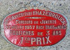 French farm show metal plaque prize Trait du Nord draft horse Hazebrouck 1957