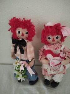 Vintage Raggedy Ann And Andy sweet Valentine's Porcelain Face& Hand's And Toes