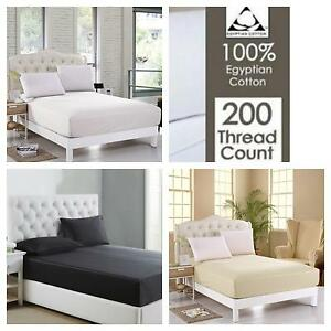 NEW 100% Egyptian Cotton 200 Thread Count Extra Deep Fitted Sheets Pillow Cases