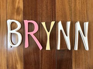 """""""BRYNN"""" Shabby-Chic Wooden Letters 6in tall - So Darling & Lightly Distressed"""