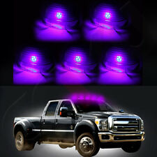 5x Smoke Roof Cab Marker Running Cover + 5x Pink/Purple Lights Bulbs For Ford