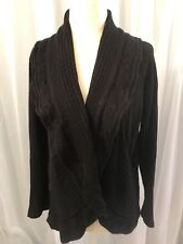Western Connection Woman's Black  Ruffle Front Cardigan Long Sleeves Sz. XL