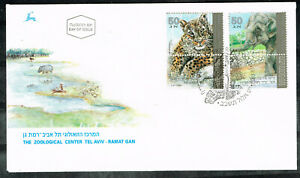 Israel Fauna Wild Animals Elephant and Leopard stamps on cover FDC 1992