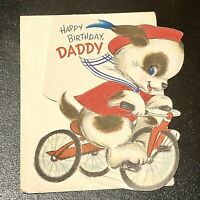 Vintage Hallmark Happy Birthday Daddy Card Unused with Envelope Dogs Bikes