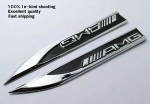 2x AMG Mercedes Emblem Badge Side Sticker Wing Fender Metal A B C E S Class CLA