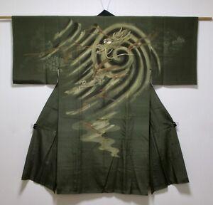 JAPANESE KIMONO SILK ANTIQUE MENS JUBAN / DRAGON / DARK GREEN / VINTAGE FABRIC
