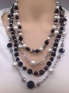 Premier design rare black and Pearl combination on a silver chain