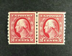 US Stamp Scott #413 Coil Line Pair Mint Hinged MH OG