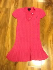 Ralph Lauren Girls Pink Knitted Cable Dress Aged 6 Years Old