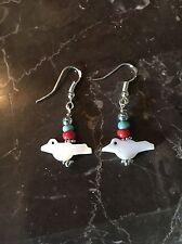 Mop Bird Fetish Dangle Earrings Southwestern Santa Fe Style Sterling .925 Marked